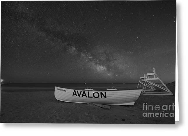Beach At Night Greeting Cards - Avalon Milky Way BW Greeting Card by Michael Ver Sprill