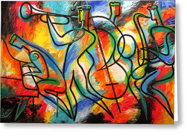 Avant-garde Jazz Greeting Card by Leon Zernitsky