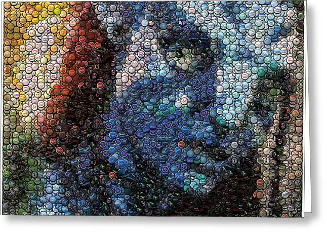 Bottlecaps Greeting Cards - Avatar Neytiri Bottle Cap Mosaic Greeting Card by Paul Van Scott