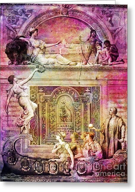 Ave Maria Vintage Art Greeting Card by Justyna JBJart