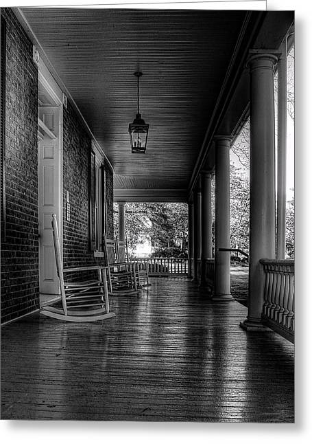 E Black Greeting Cards - Avenel Front Porch - BW Greeting Card by Steve Hurt