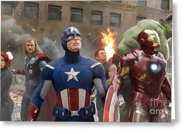 Avengers Greeting Card by Paul Tagliamonte