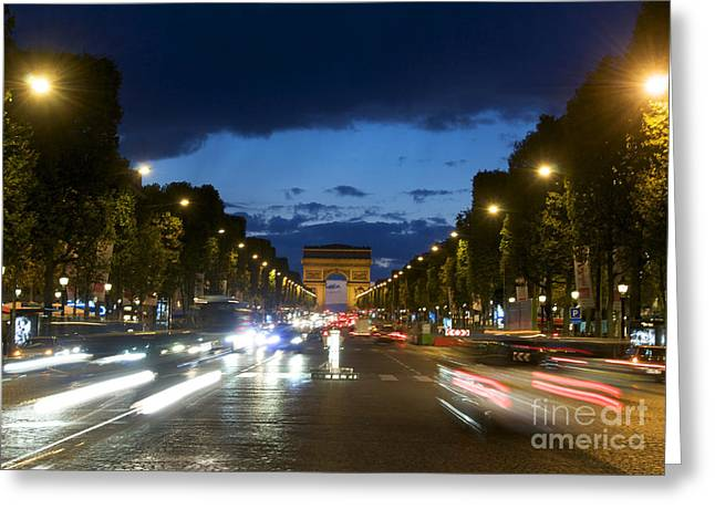 Arc De Triomphe Greeting Cards - Avenue des Champs Elysees. Paris Greeting Card by Bernard Jaubert