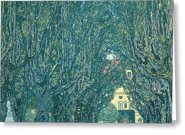 Klimt Greeting Cards - Avenue in the Park of Schloss Kammer Greeting Card by Gustav Klimt