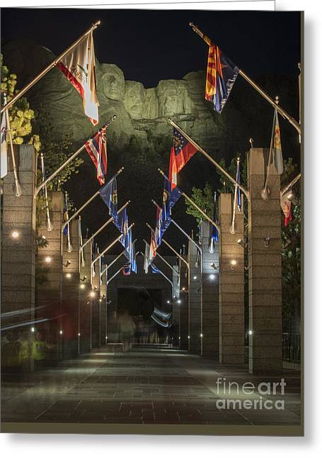 Avenue Of Flags Greeting Card by Juli Scalzi