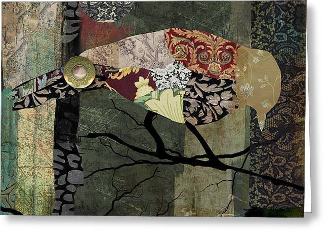 Bird Collage Greeting Cards - Aviary II Greeting Card by Mindy Sommers