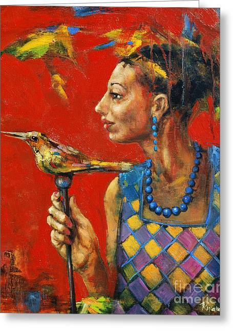 Aviary Queen Greeting Card by Michal Kwarciak