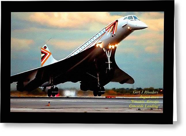 Military Pastels Greeting Cards - Aviation Art Catus 1 no. 24 - Irmania Airways Concorde Landing H A Greeting Card by Gert J Rheeders