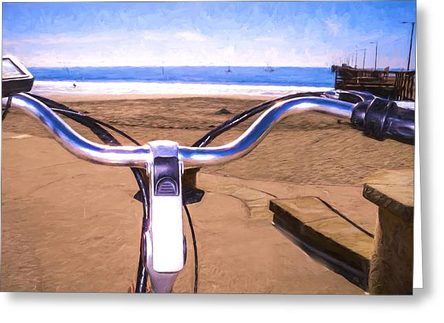 Beach Photography Greeting Cards - Avila Beach from the handle bars Greeting Card by Vivian Frerichs