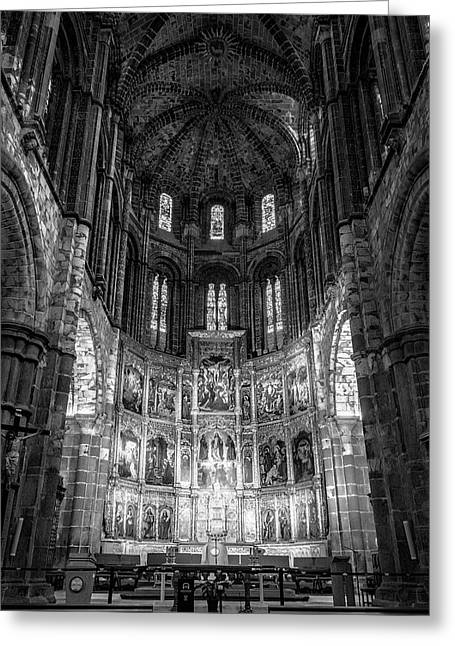 Avila Cathedral Bw Greeting Card by Joan Carroll