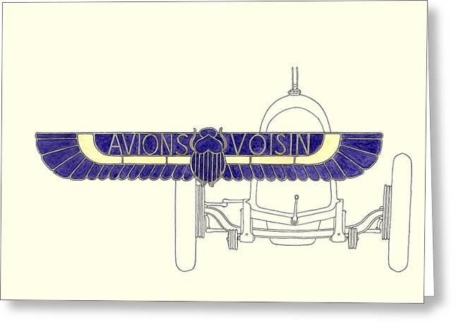 Car Mascot Paintings Greeting Cards - Avions Voisin logo and C4 chassis Greeting Card by Domingo Gorriz