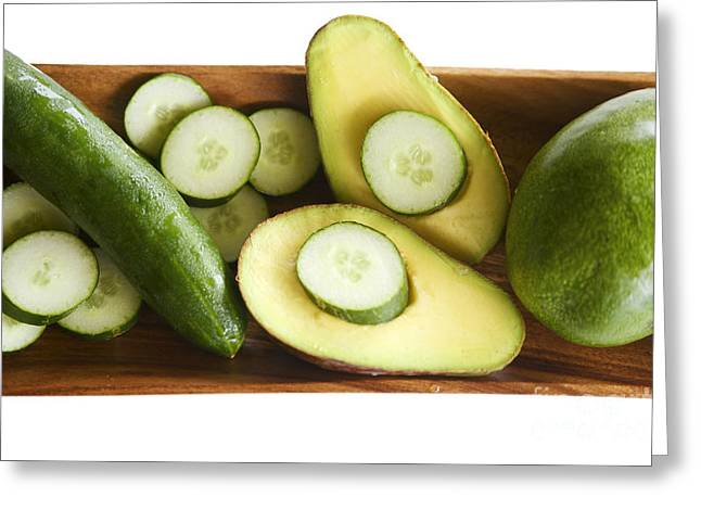 Avocado Green Greeting Cards - Avocado and Cucumbers I Greeting Card by Kicka Witte - Printscapes