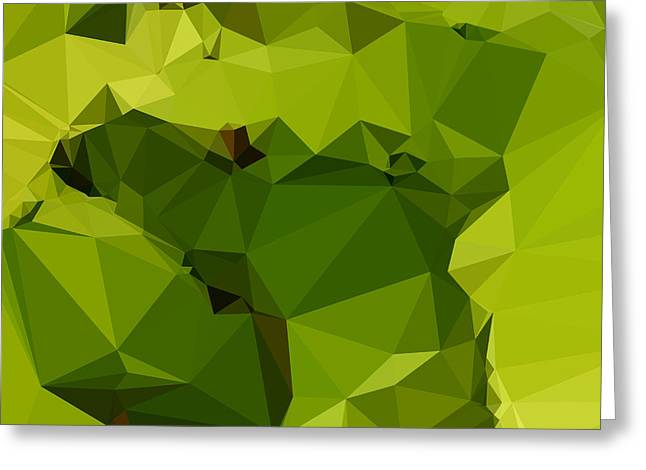 Avocado Green Abstract Low Polygon Background Greeting Card by Aloysius Patrimonio