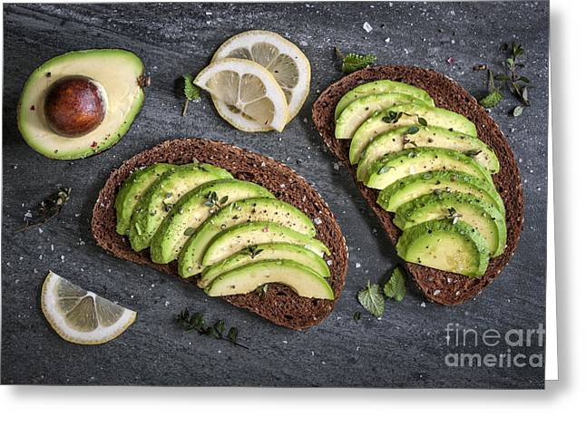 Avocado Green Greeting Cards - Avocado sandwich Greeting Card by Elena Elisseeva