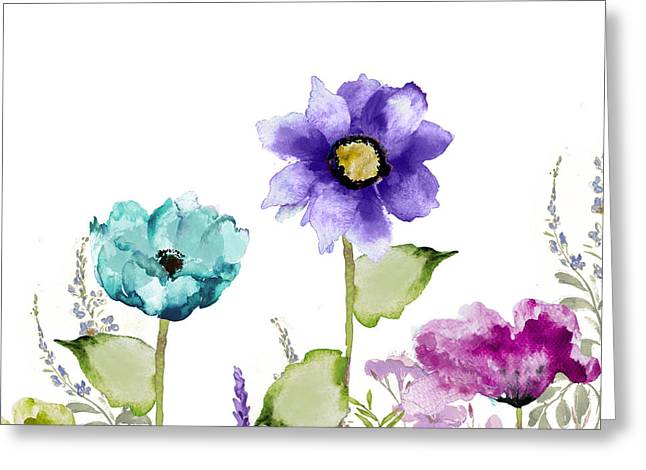 Blue And Purple Greeting Cards - Avril II Greeting Card by Mindy Sommers