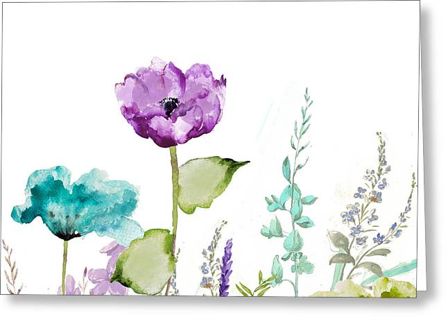 Blue And Purple Greeting Cards - Avril  Greeting Card by Mindy Sommers