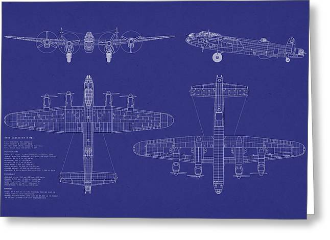 Lancasters Greeting Cards - Avro Lancaster Bomber Blueprint Greeting Card by Michael Tompsett