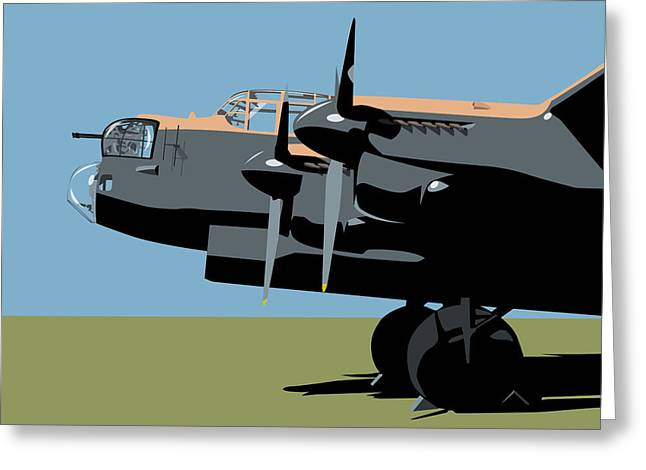 Propeller Greeting Cards - Avro Lancaster Bomber Greeting Card by Michael Tompsett