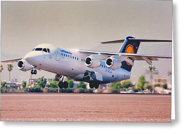 Lufthansa Greeting Cards - Avro rj85 Greeting Card by Roger Lyon