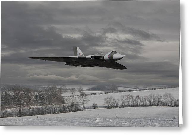 Winter Scene Digital Art Greeting Cards - Avro Vulcan - Cold War Warrior Greeting Card by Pat Speirs