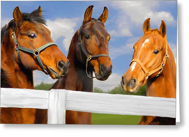 Bay Horse Greeting Cards - Awaiting Home Greeting Card by Elzire S