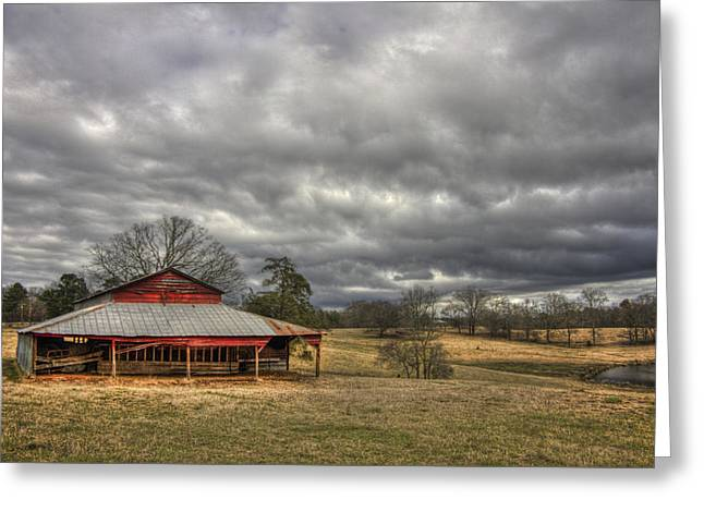 Pastureland Greeting Cards - Awaiting Spring The Red Barn Greeting Card by Reid Callaway