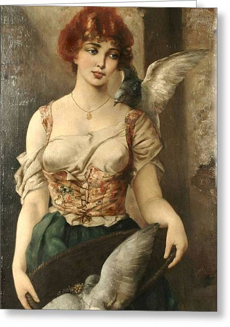 Pensive Greeting Cards - Awaiting the Sailors Return Greeting Card by Moritz Stifter