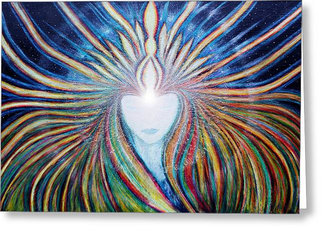 Universal Paintings Greeting Cards - Awakening of Self Greeting Card by NARI - Mother Earth Spirit