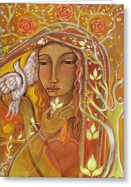 Sacred Paintings Greeting Cards - Awakening Greeting Card by Shiloh Sophia McCloud