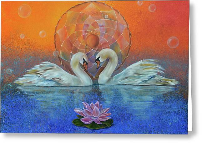 Swan Greeting Cards - Awakening to the Beauty Within Greeting Card by Sundara Fawn