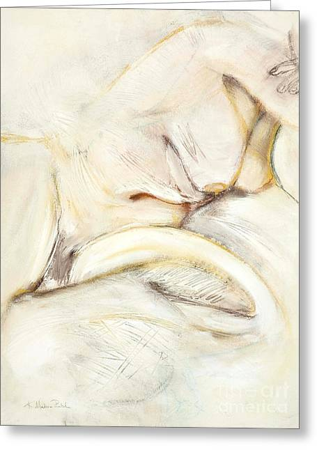Contemplative Drawings Greeting Cards - Award Winning Abstract Nude Greeting Card by Kerryn Madsen-Pietsch