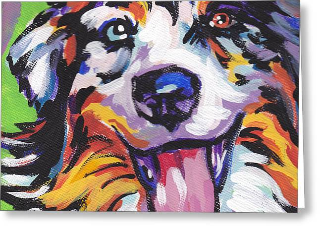 Puppies Paintings Greeting Cards - Awesome Aussie Greeting Card by Lea