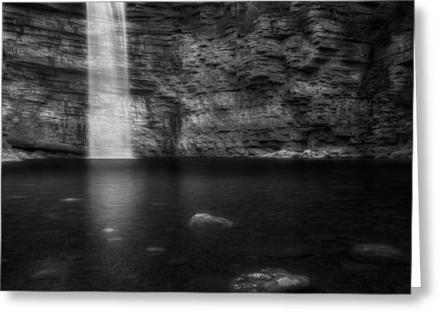 Calm Greeting Cards - Awosting Falls Black and White Greeting Card by Bill Wakeley