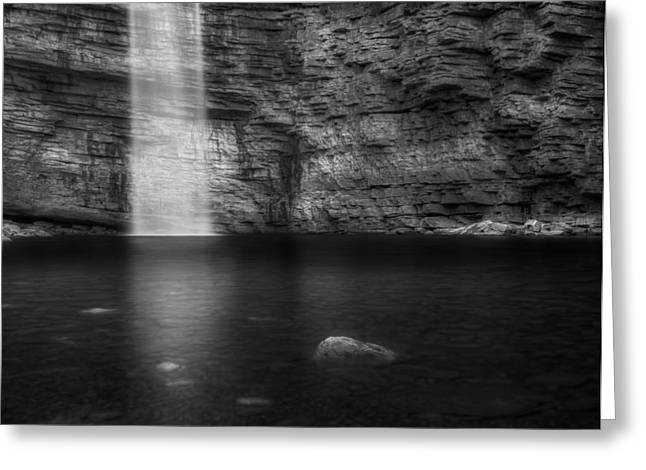 Calming Greeting Cards - Awosting Falls Square Black and White Greeting Card by Bill Wakeley