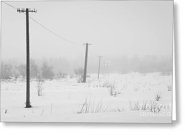 Awry Power Grid Pylons Greeting Card by Arletta Cwalina