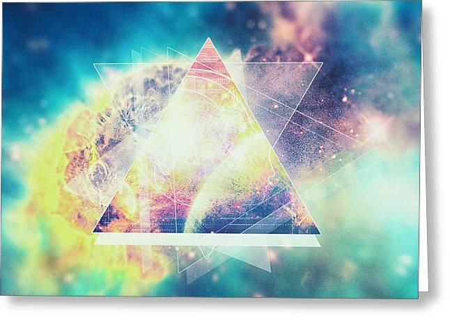Enterprise Greeting Cards - Awsome collosal deep space triangle art sign Greeting Card by Philipp Rietz