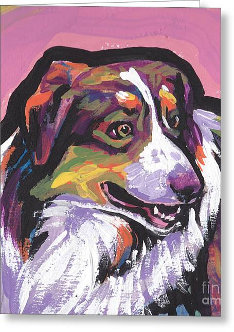 Australian Shepherd Greeting Cards - Oh Say Aussie Greeting Card by Lea