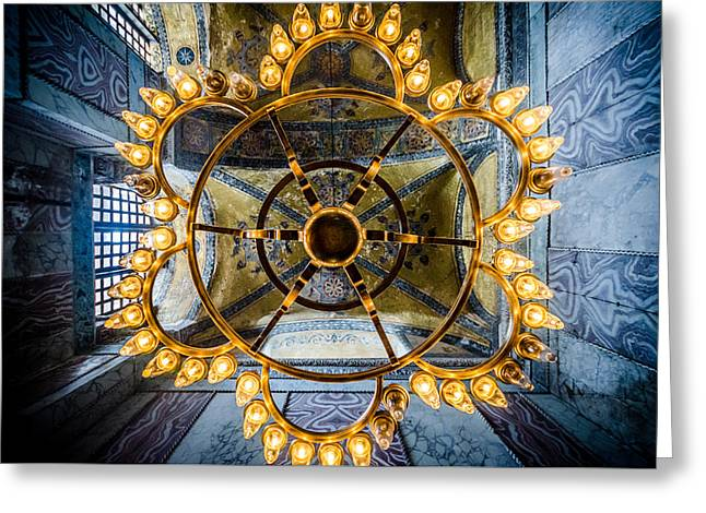 Aya Sofia Greeting Cards - Aya Sofia Chandelier  Greeting Card by Anthony Doudt