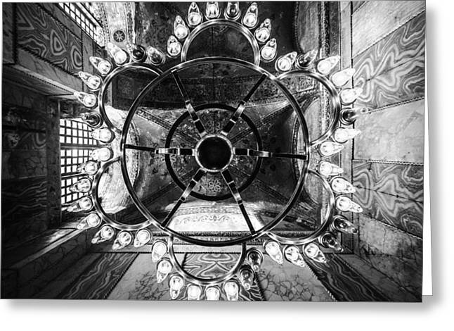Aya Sofia Greeting Cards - Aya Sofia Chandelier in Black and White Greeting Card by Anthony Doudt