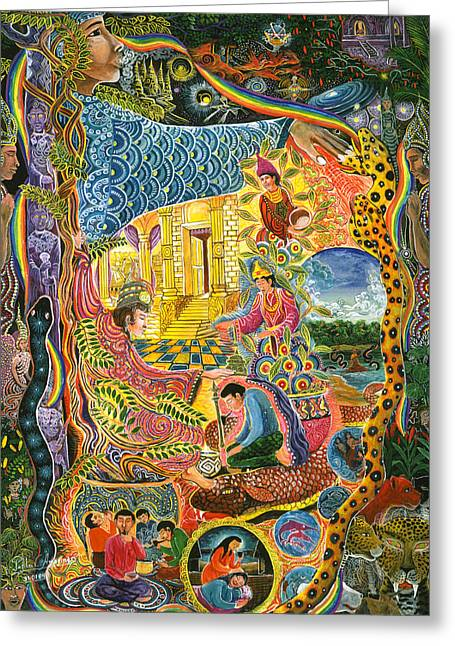 Amazonian Art Greeting Cards - Ayahuasca Chayana Greeting Card by Pablo Amaringo
