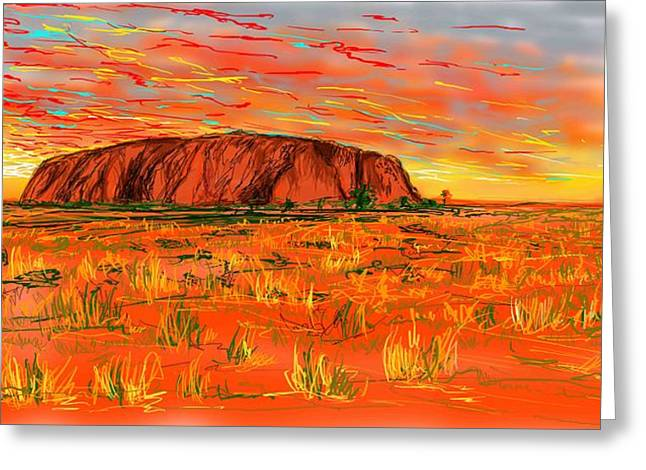 Aboriginal Art Drawings Drawings Greeting Cards - Ayers Rock Greeting Card by Eranda Kumarapperuma