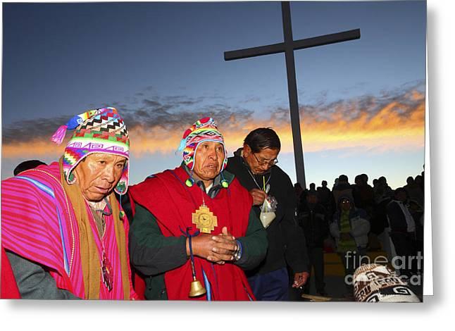 Aymara New Year Celebrations Greeting Card by James Brunker