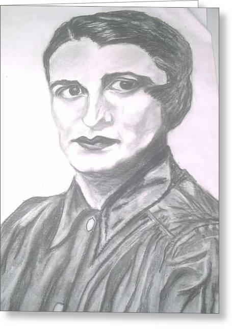Ayn Greeting Cards - Ayn Rand Greeting Card by Nancy  Caccioppo