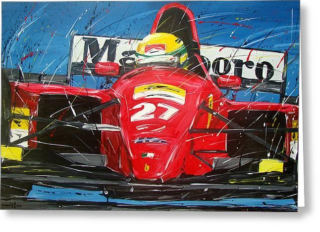 Ayrton Senna Ferrari 27 Greeting Card by Roberto Muccilo