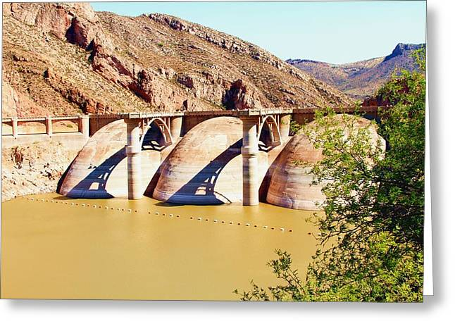 Az 2011 Apache Res - Coolidge Dam Greeting Card by Gregory Jeffries