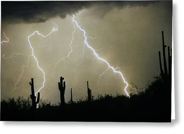 Photography Lightning Photographs Greeting Cards - AZ Desert Storm Greeting Card by James BO  Insogna