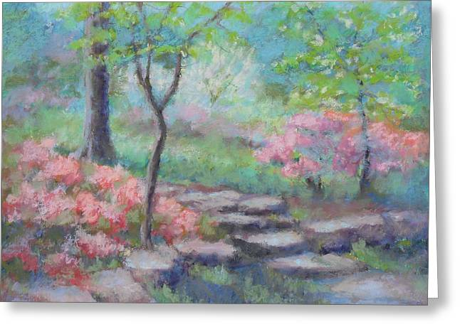 Stone Steps Pastels Greeting Cards - Azalea Garden Greeting Card by Julie Mayser