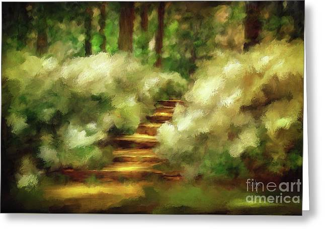 Azalea Stairs Greeting Card by Lois Bryan