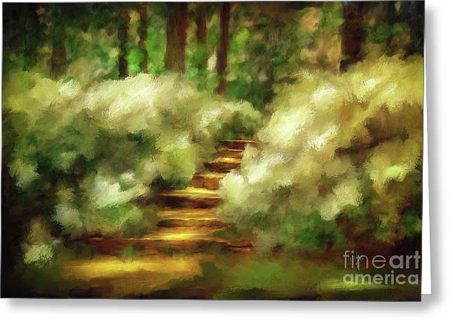 Sunlight On Flowers Greeting Cards - Azalea Stairs Greeting Card by Lois Bryan