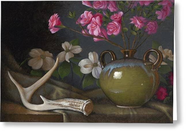 Old Masters Greeting Cards - Azaleas and Dogwood Greeting Card by Timothy Jones